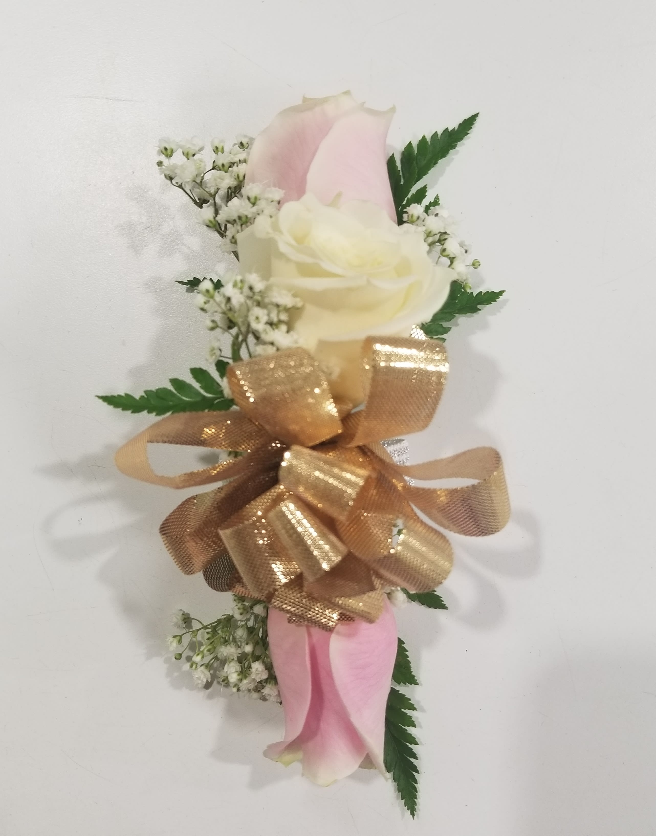 Pink And White Rose Wrist Corsage With Gold Bow In Philadelphia Pa