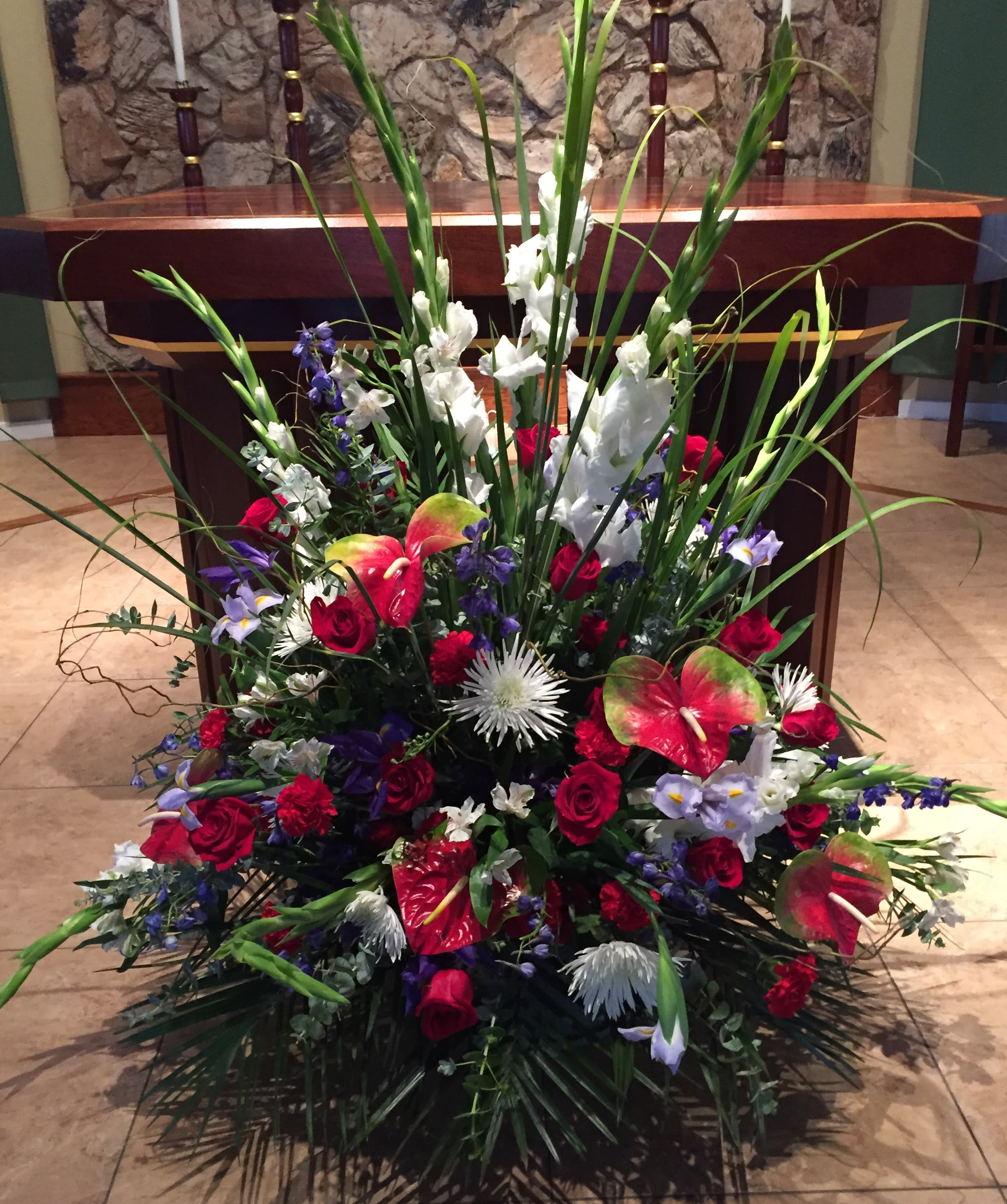 Large Red White Blue Altar Arrangement In Concord Ca Full