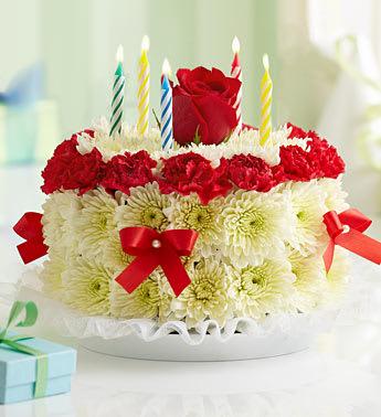 Birthday Flower Cake Bright 1990