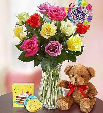 Happy Birthday Assorted Roses in Sacramento, CA | Bouquet of Elegance  Floral Shop