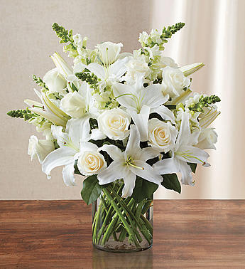 Classic All White Arrangement 95097l By Flowers By Mendez Jackels