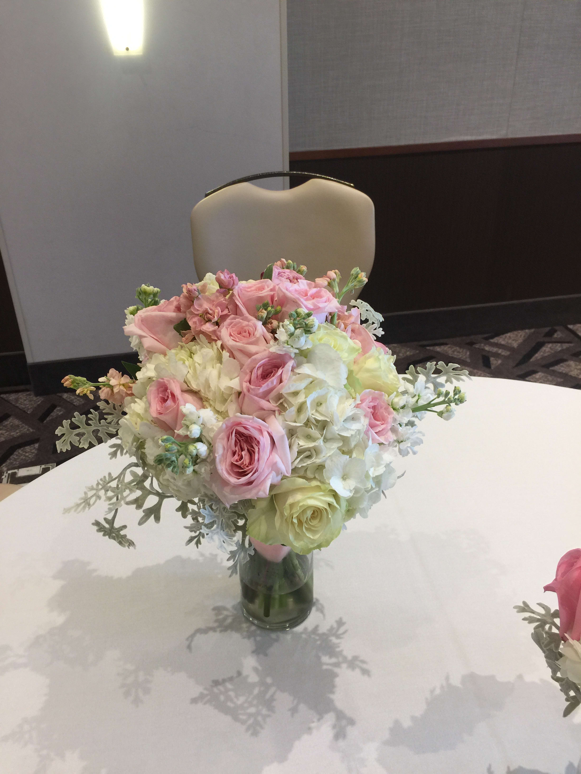 Bridal Bouquet Roses Hydrangea Stock Peonies In Milwaukee Wi
