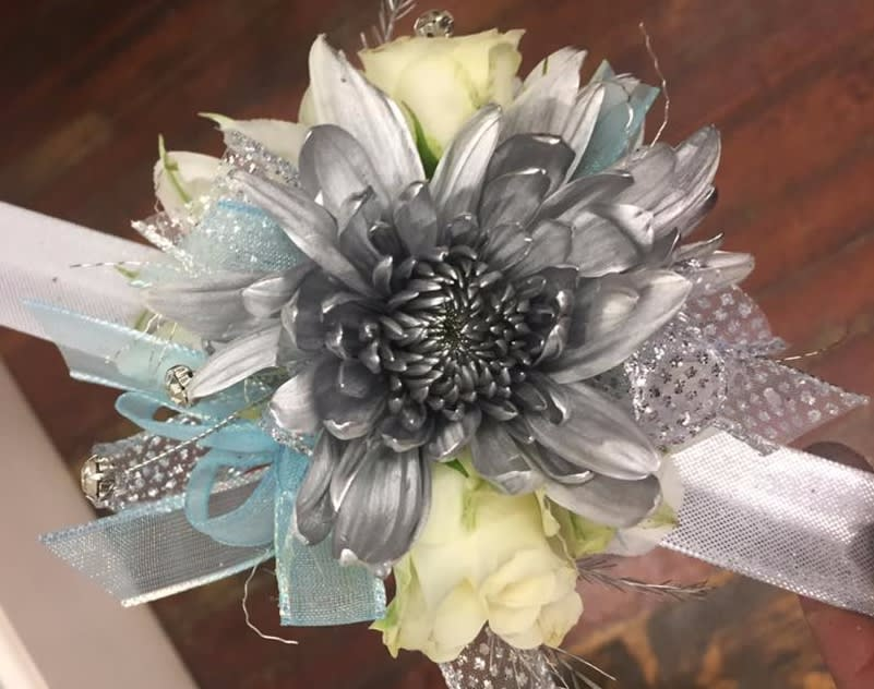 White And Turquoise Wrist Corsage By Flower Tique