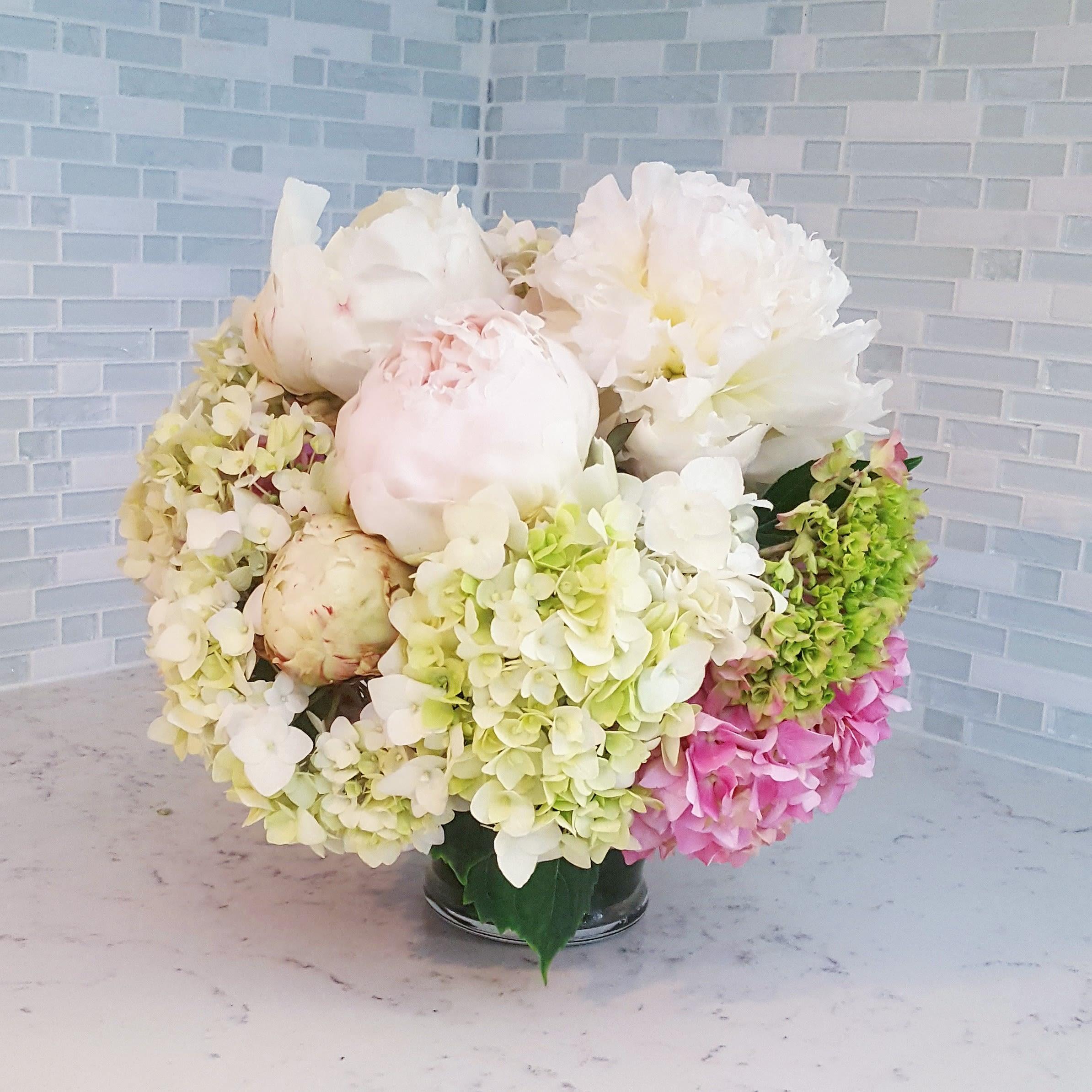 Peony And Hydrangea Luxury Centerpiece Arrangement By Dahlia Bud