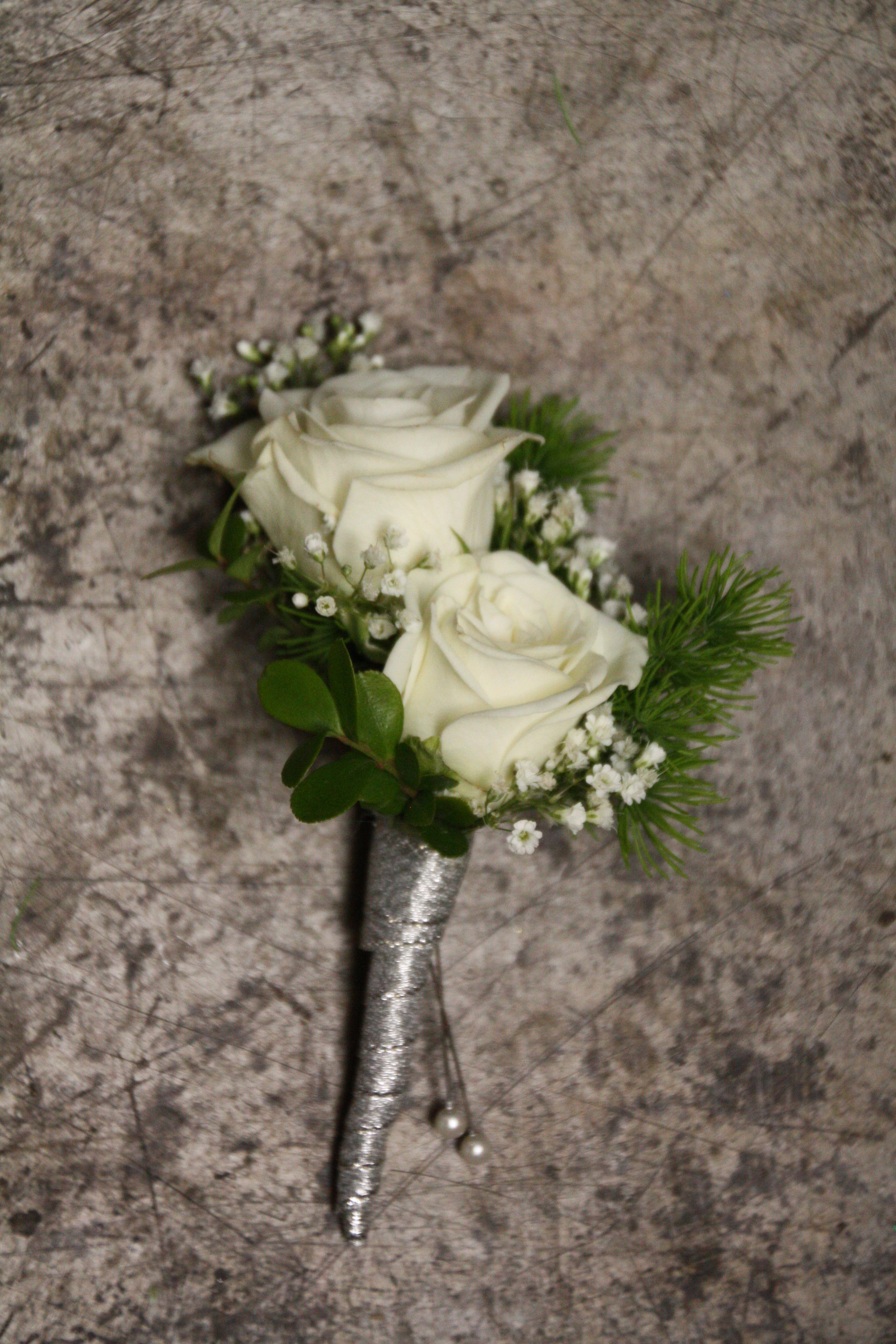 Baby White Rose Boutonniere