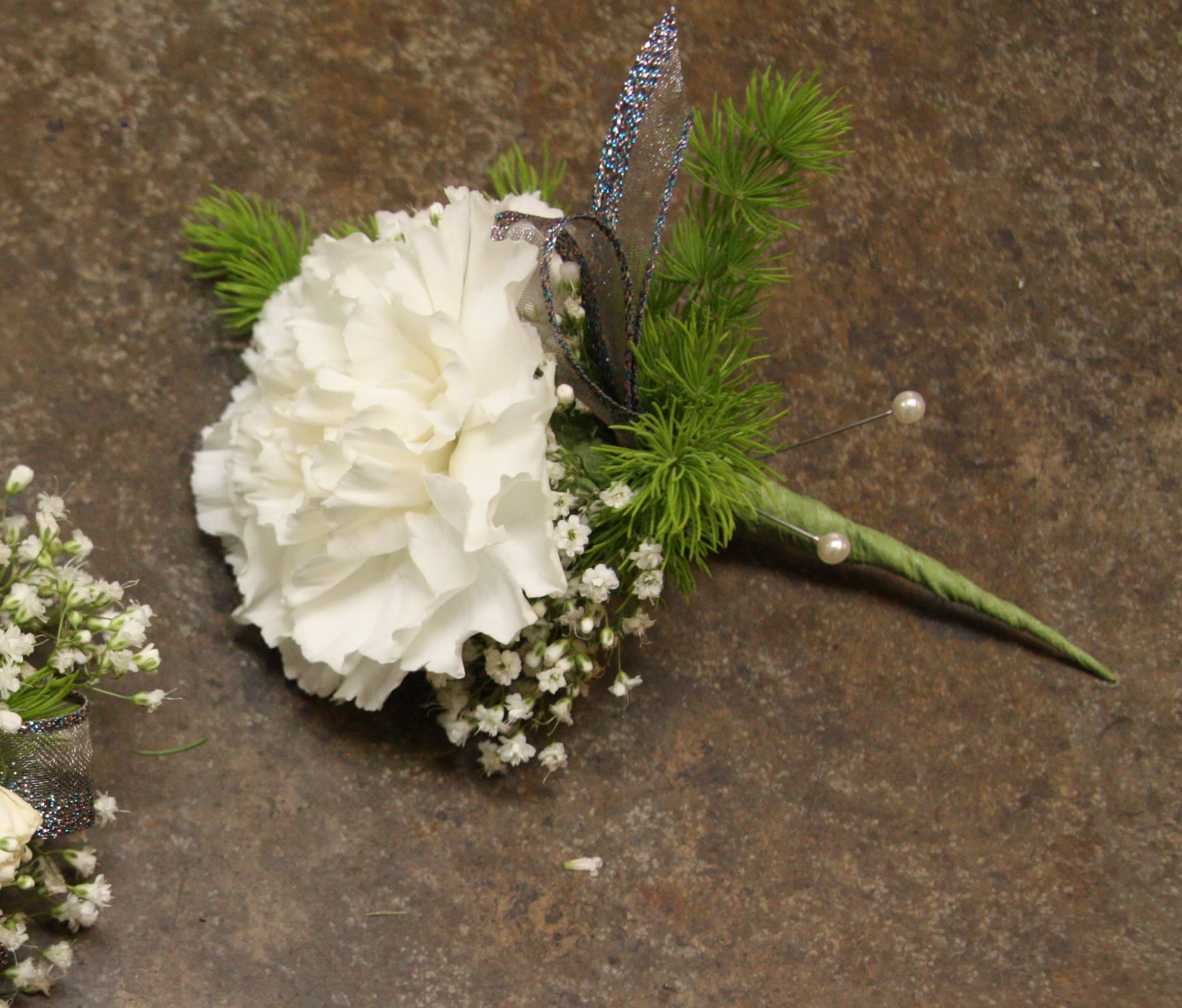 Single White Carnation Boutonniere