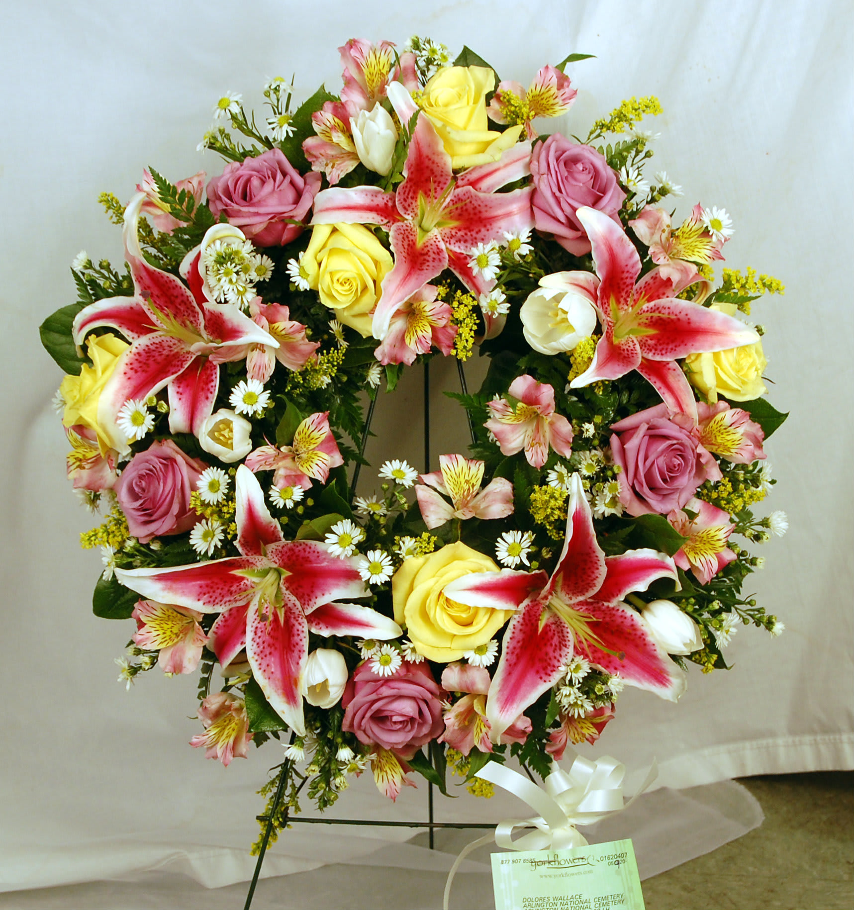 Pink and yellow wreath