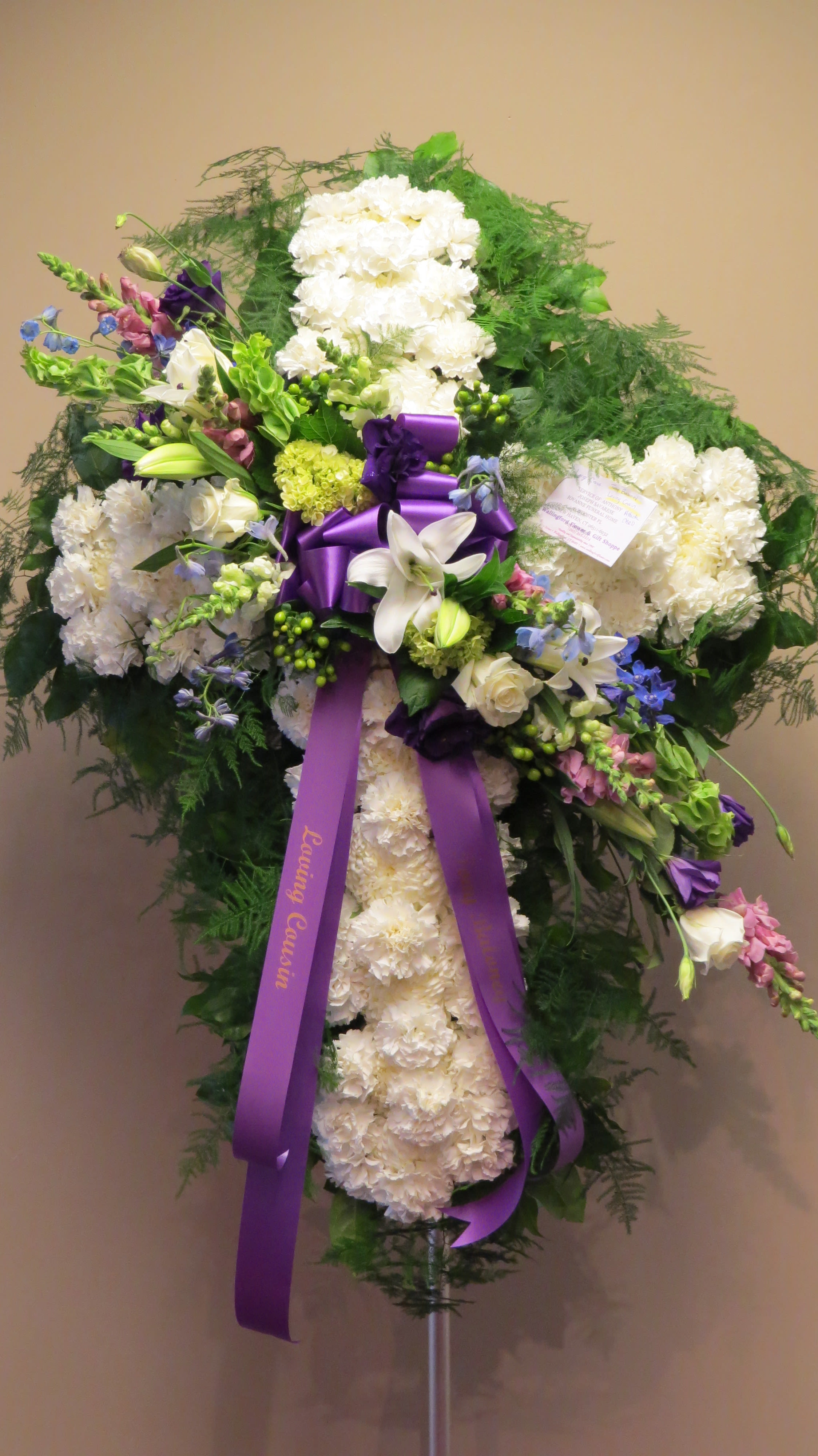 Lovely Lavender and Blue Standing Cross - A cross consisting of simply elegant white flowers is