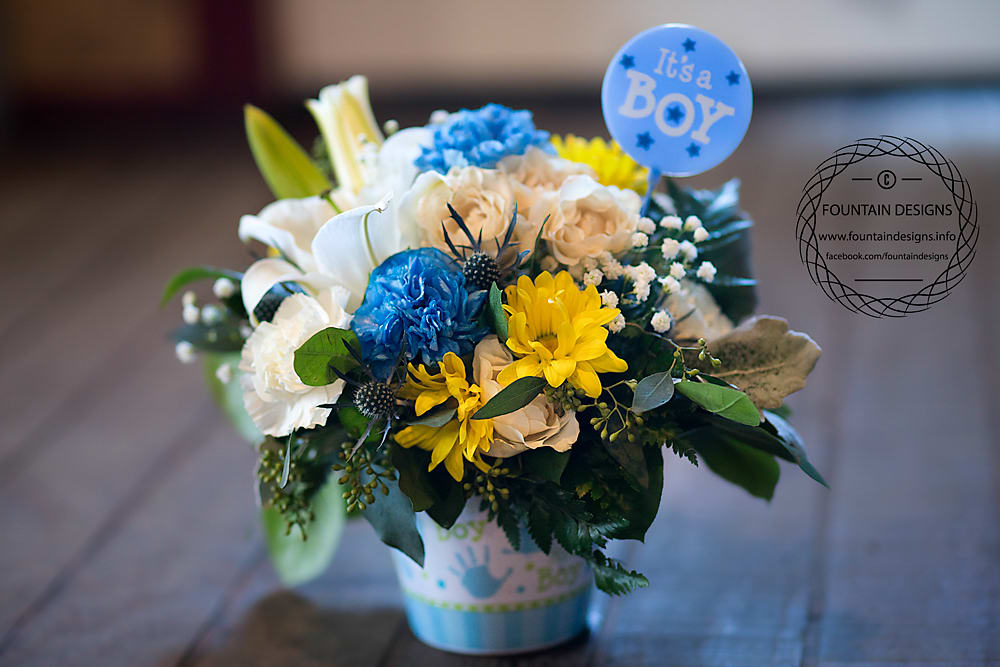 Baby Boy Arrangement Designers Choice By Fountain Designs