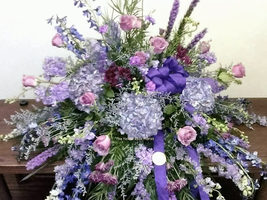 Purple Hydrangea Casket Spray In Olive Branch Ms The Yellow Rose