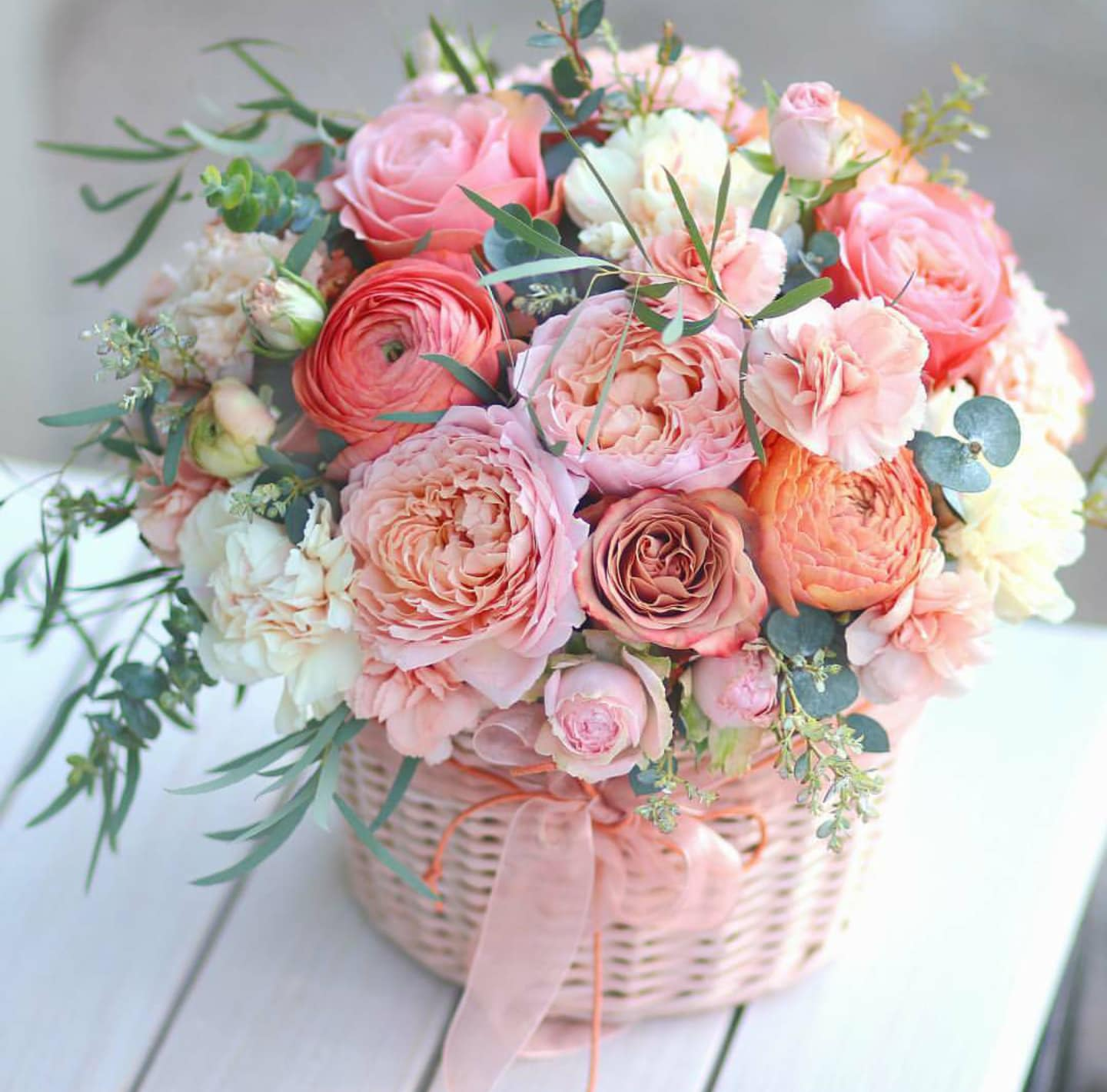 Spring Garden Basket With Organic Roses by Venetian Flowers