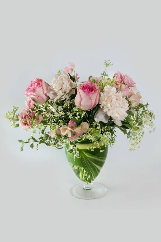 Pink Roses In Footed Vase In Centerville Oh Far Hills Florist