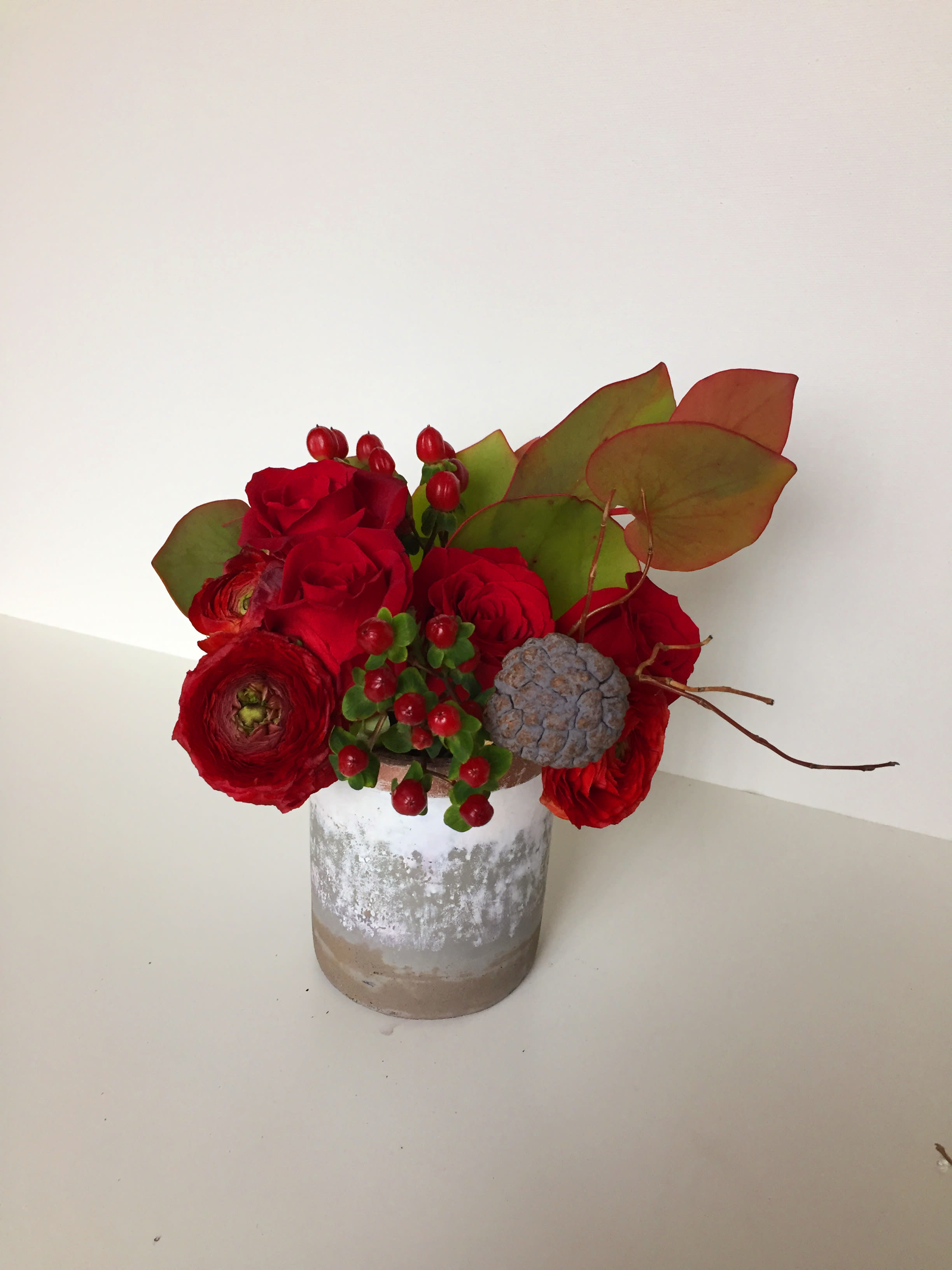 Beautiful Red Flowers In Hand Painted Vase In Washington Dc
