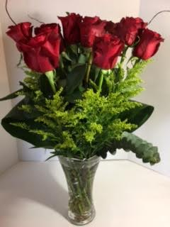 Beautiful Dozen Red Roses On Crystal Vase By Flowerbell Reno Sparks Florist