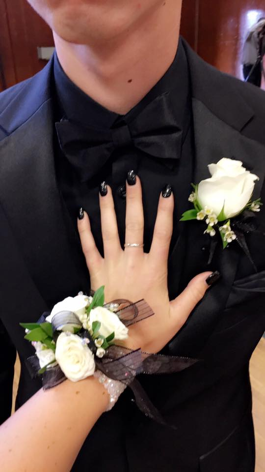 747d99b962cafe White   Black Wrist Corsage and Boutonniere to Match in Pleasanton ...