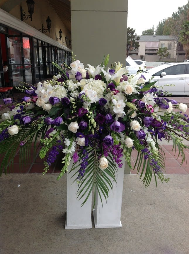 White And Purple Casket Spray By Robinsons Flowers