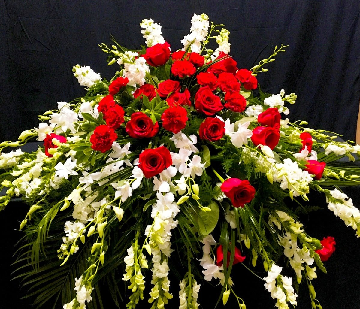 Waterfall of Remembrance Casket Spray