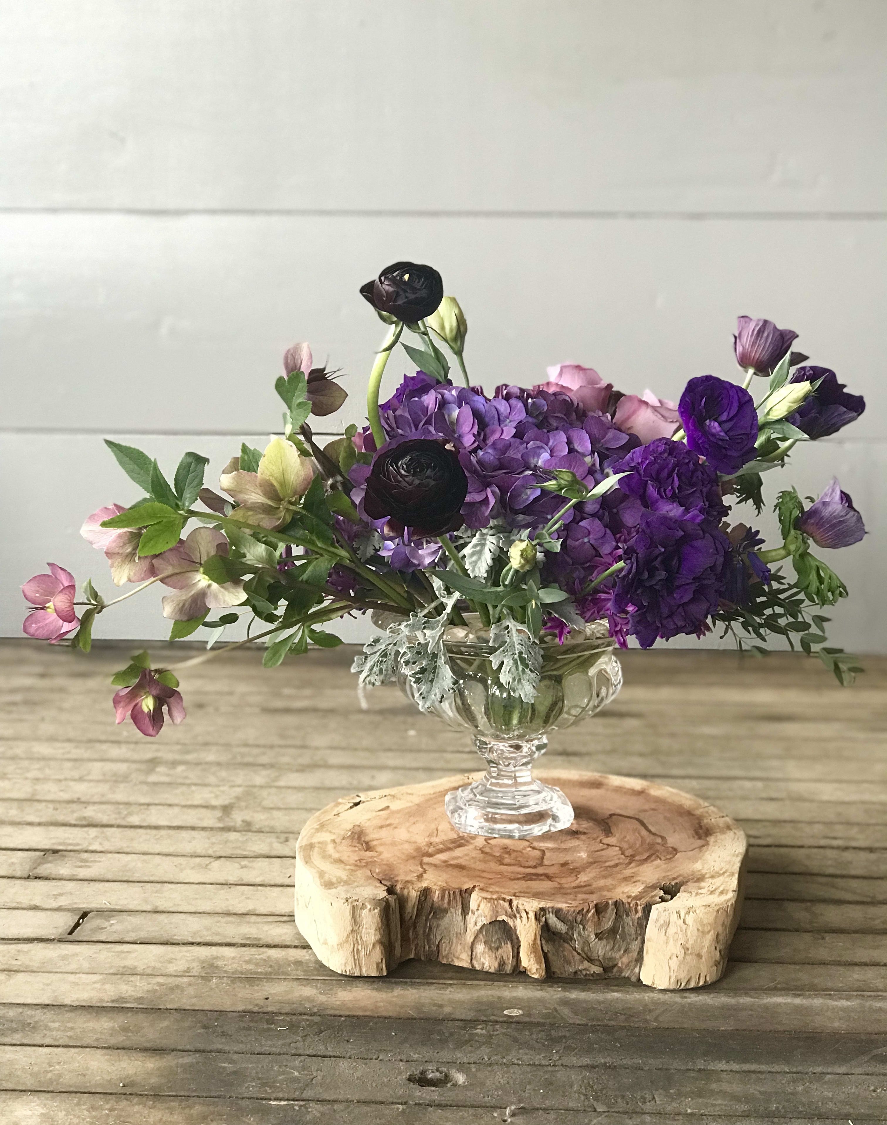 Queen's Garden - A beautiful collection of purples in an elegant glass compote, perfect for any queen of the household.