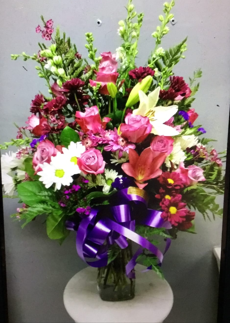 Mix Flowers, lavender roses , asiatic white lily larkspur pompon daisies