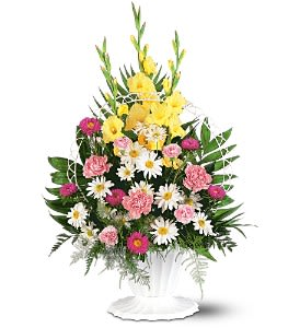 Basket of Faith [TF187-4] - This classic basket of traditional flowers displays