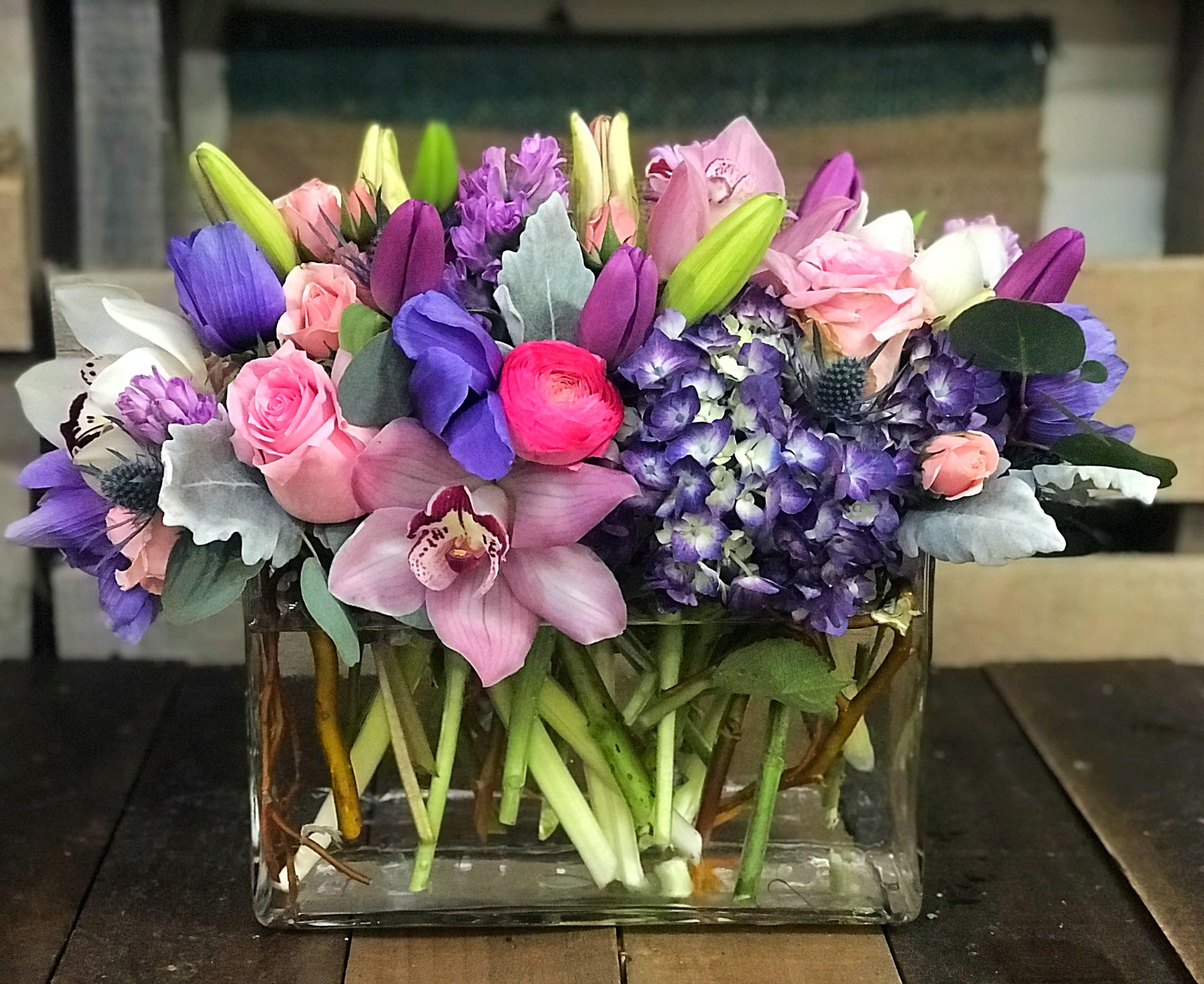 Pink Purple Flowers In Boonton Nj Main Street Bloomery