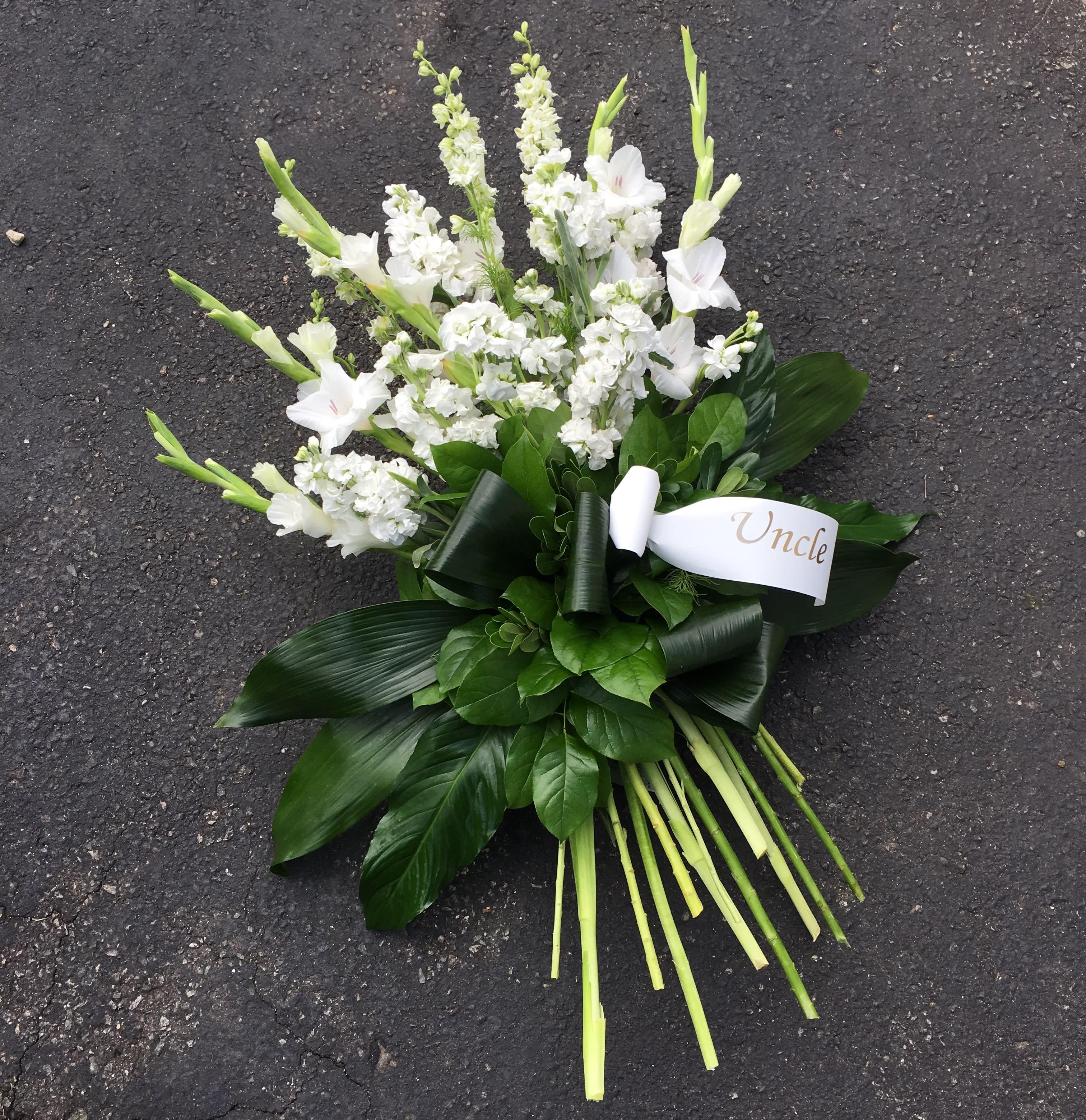 Evans White Elegance Tribute Funeral Spray in Peabody, MA   Evans Flowers