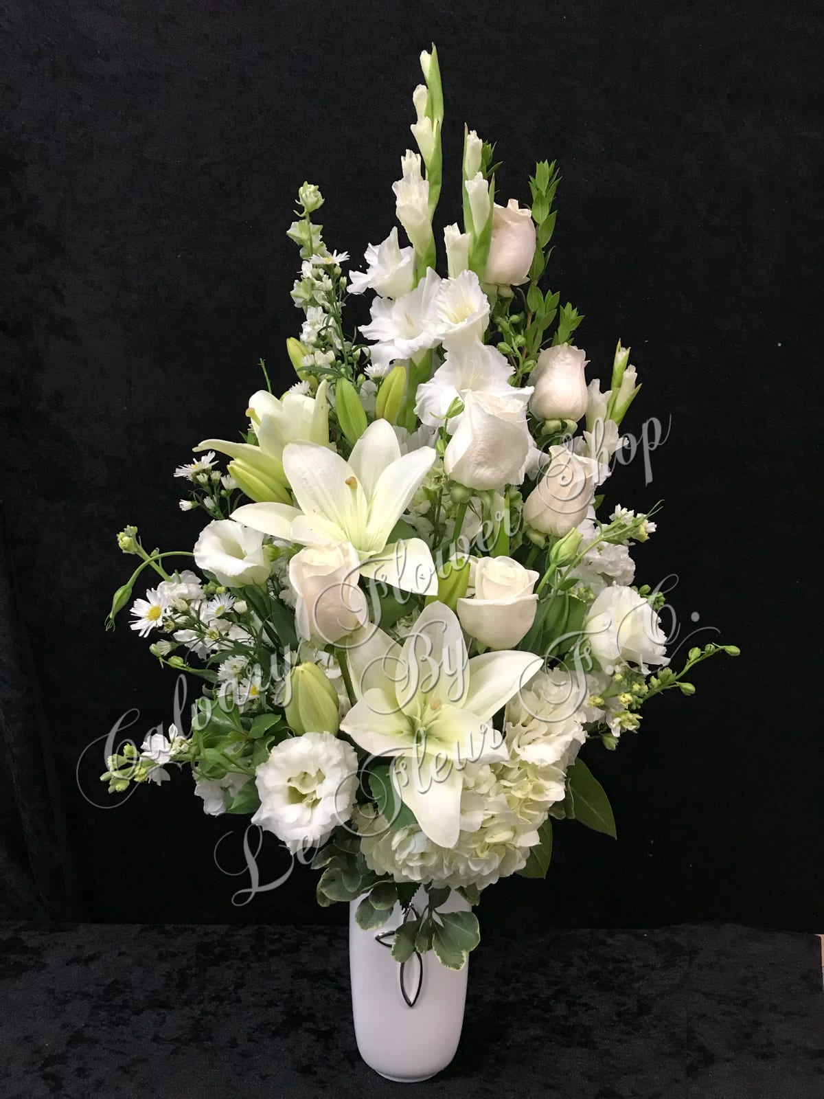 All White Sympathy Vase Arrangement In Los Angeles Ca Calvary