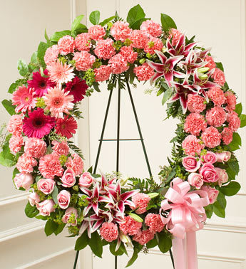 Serene Blessings Standing Wreath Pink In Dryden Ny Arnolds