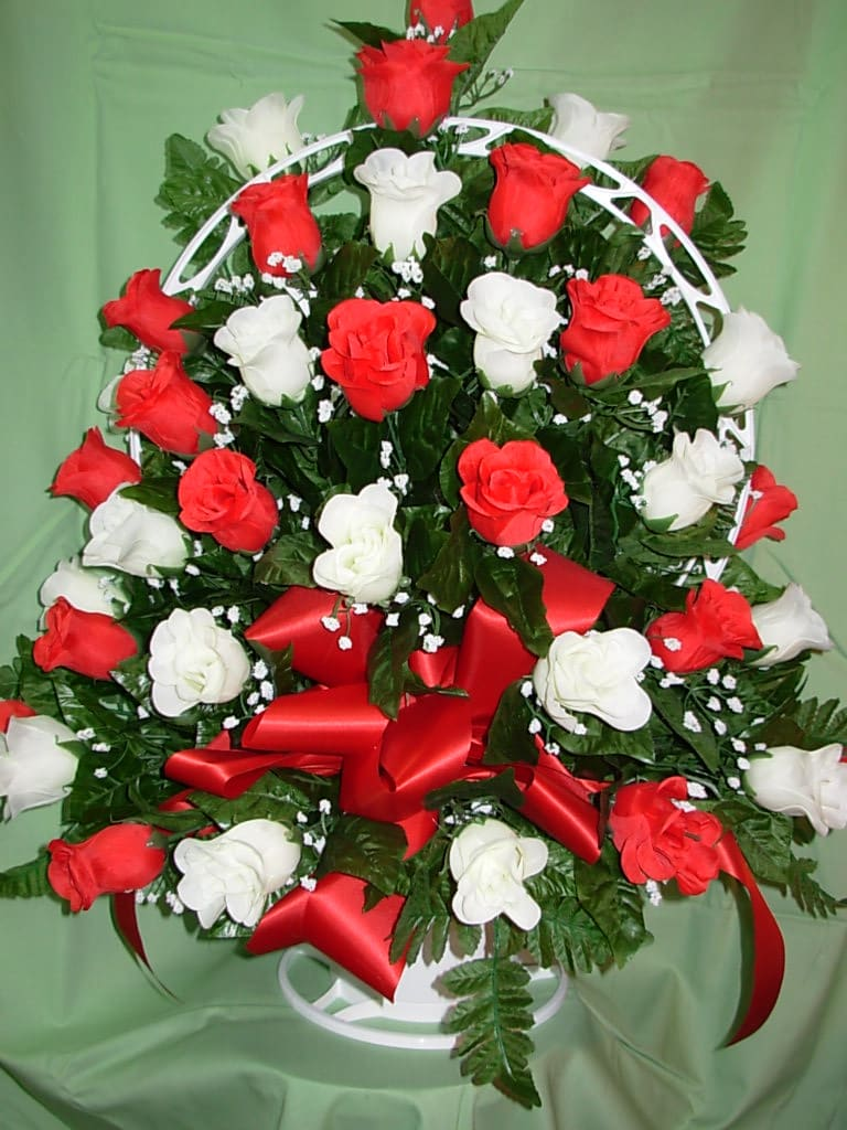 Red And White Silk Rose Funeral Basket New S31 In