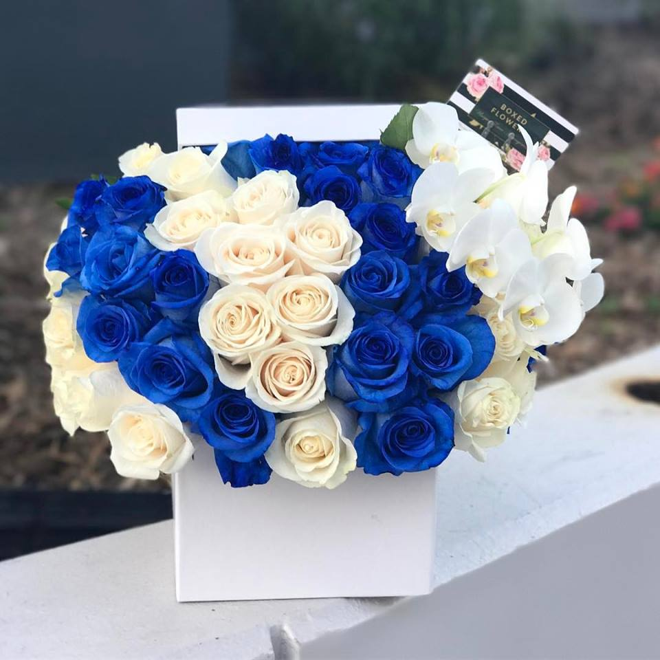 Simple Blue And White Rose Box With Orchid By Boxed Flowers And Sweets
