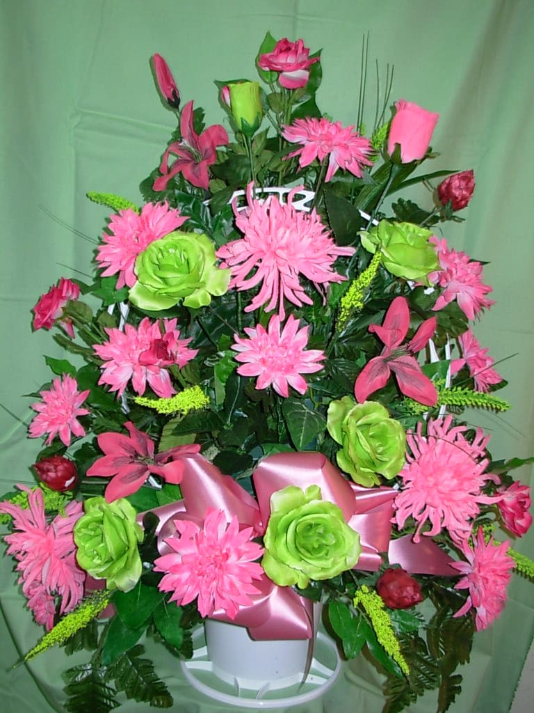 Silk Pink Lime Green Funeral Basket New S24 In Sumter