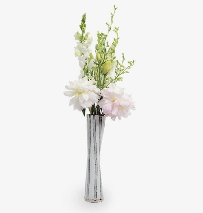 Handmade Ceramic Tall Black And White Vase With Pink And White