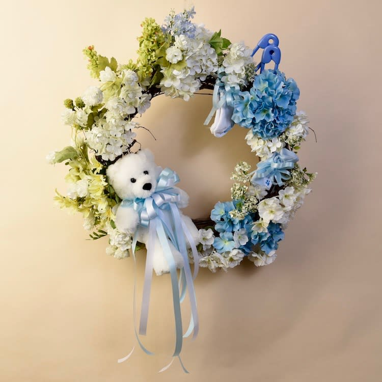 Mcshan Baby Door Wreath Boy In Dallas Tx Mcshan Florist