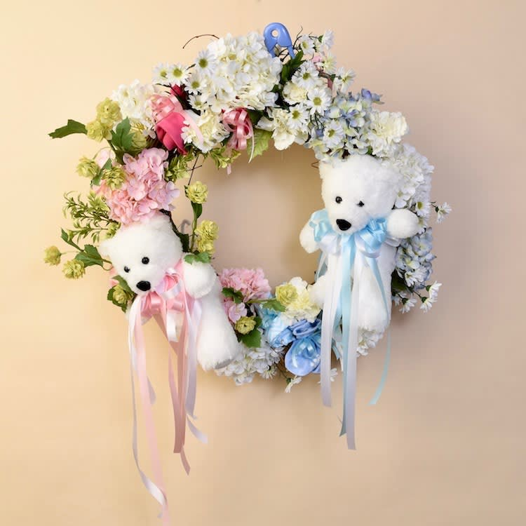 Mcshan Baby Door Wreath For Twins In Dallas Tx Mcshan Florist