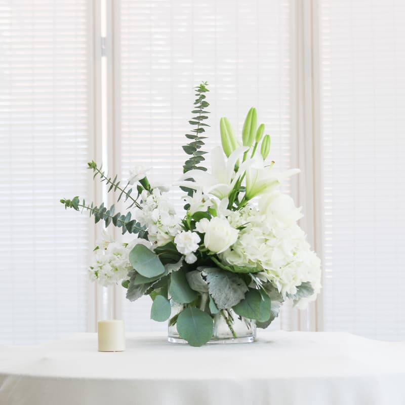 White Hydrangeaswhite Lilies And White Roses In Affton Mo Wolfs