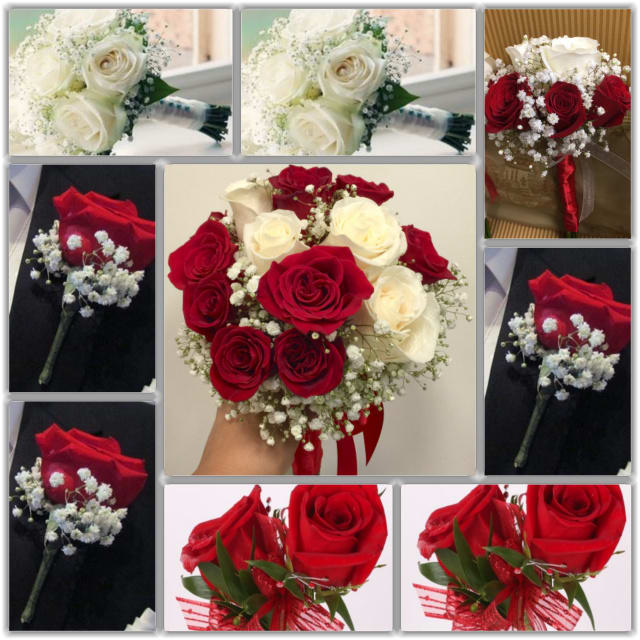 White And Red Roses Wedding Package In Las Vegas Nv Vip Floral