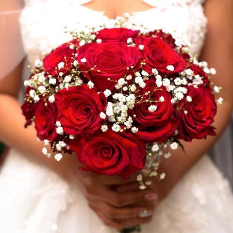 Red Rose Wedding Bouqet.Red Roses And Baby S Breath Bridal Bouquet By Vip Floral Designs