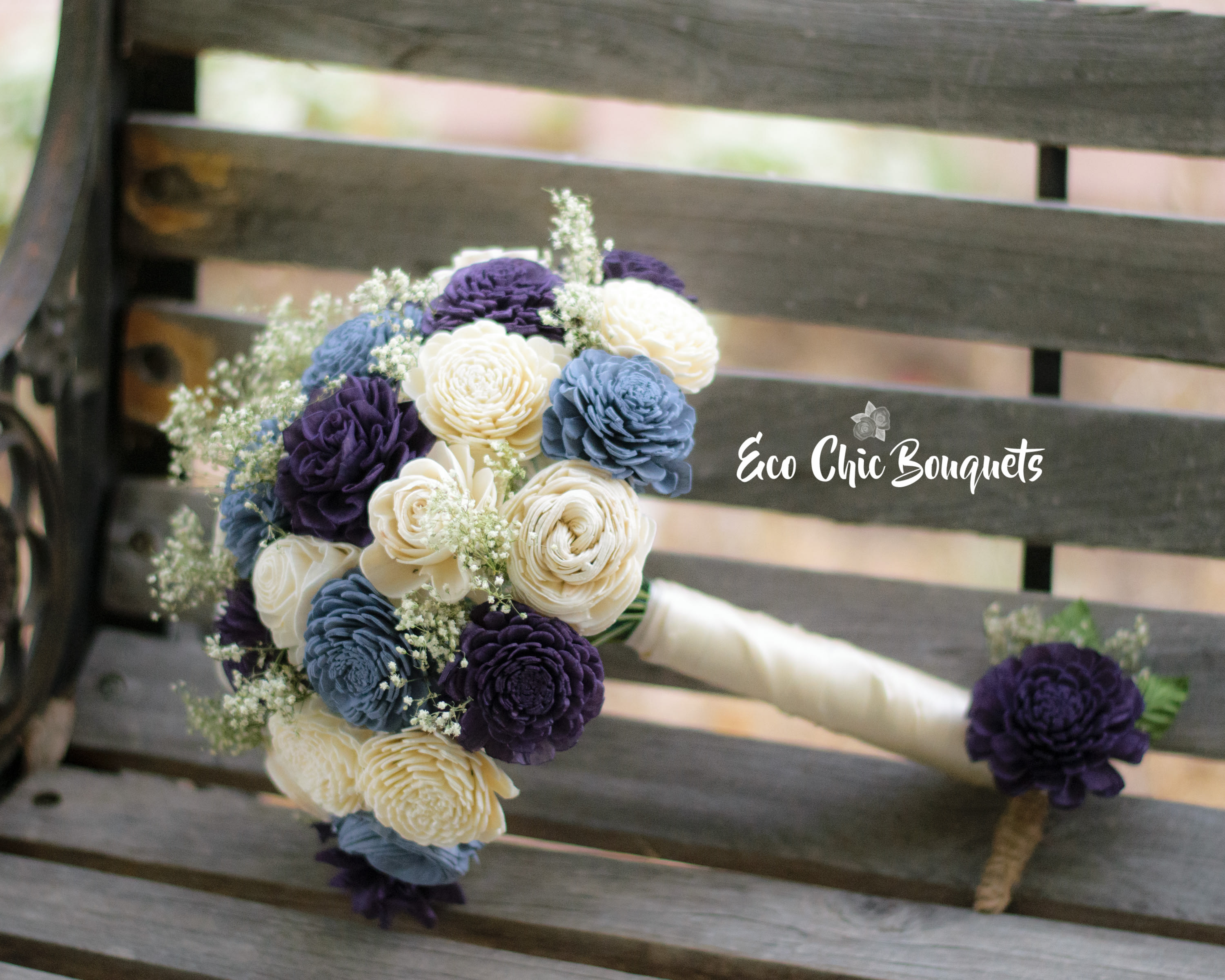 eco chic bouquets - wedding bouquet & boutonniere pair in colorado springs,  co | bloomtastic flower shop