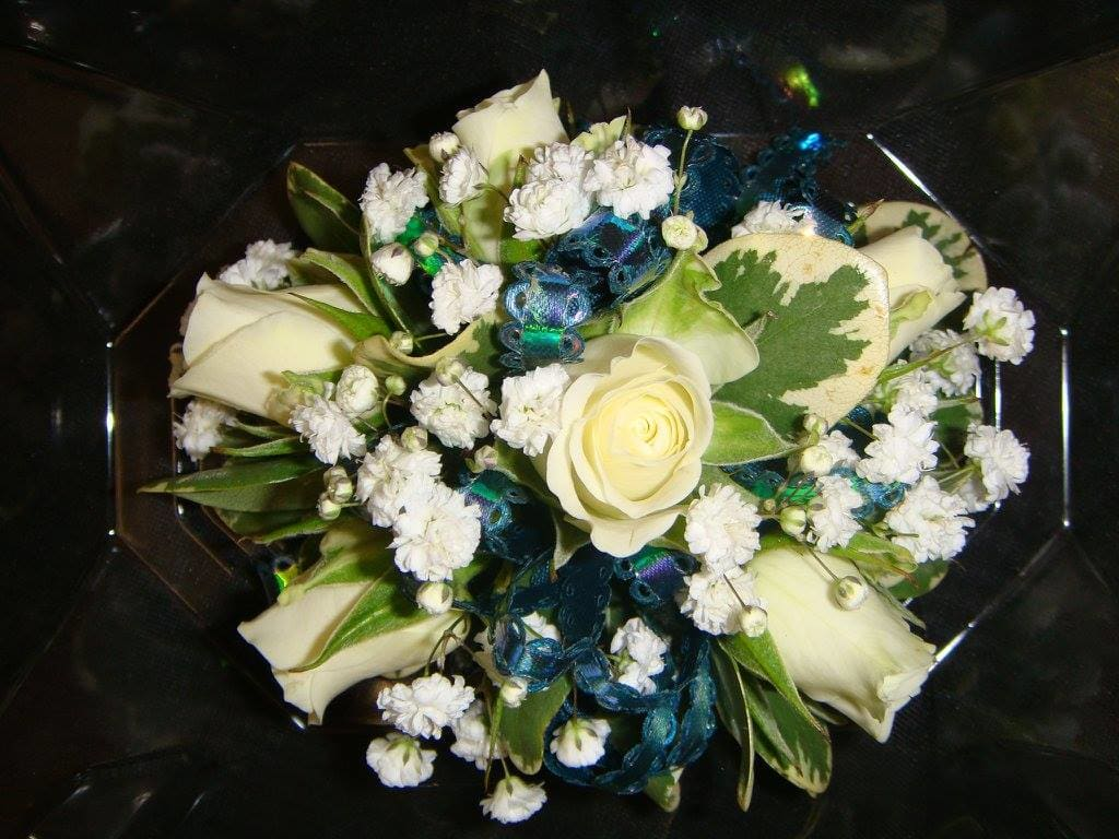 White Spray Rose Corsage With Blue Ribbon in Huntsville ...White Spray Rose Boutonniere