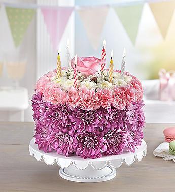 Birthday Wishes Flower Cake Pastel
