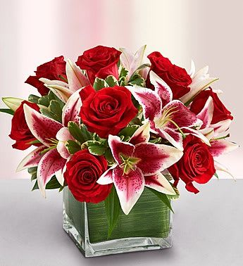 Modern Embrace Red Rose And Lily Cube By Helms Flowers