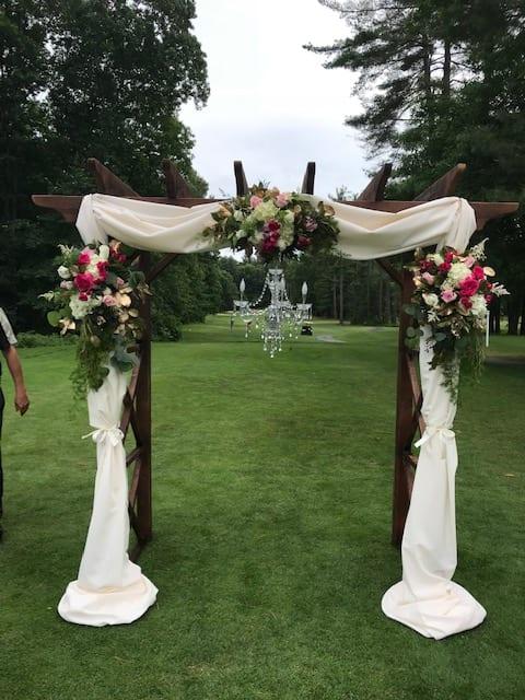 Wedding Arch Flowers And Fabric In Millbury Ma Floral Elegance