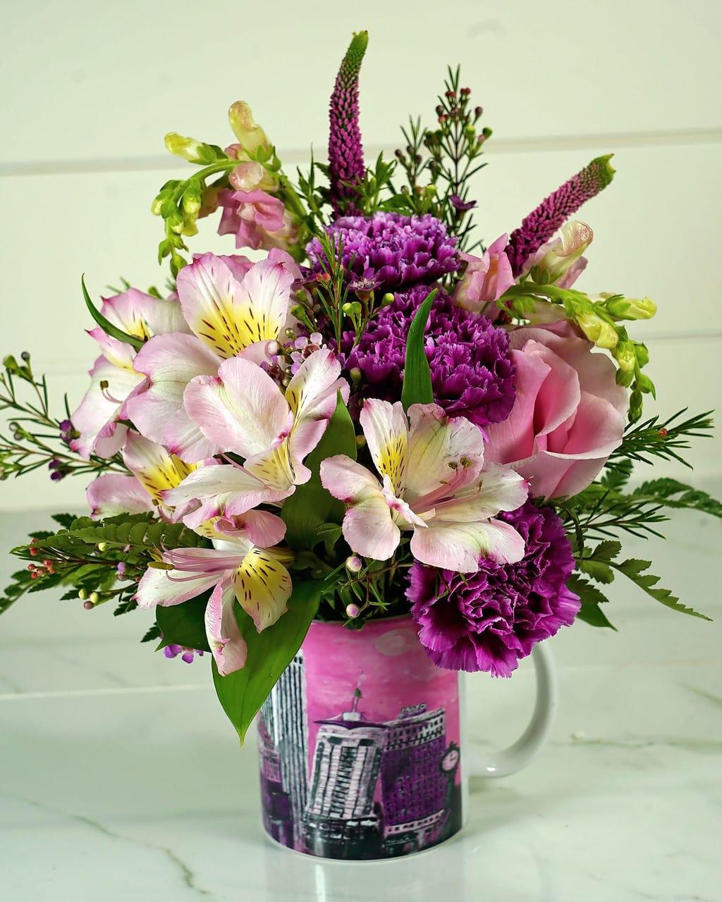 Pink Tulsa Coffee Mug by Rathbone's Flowers