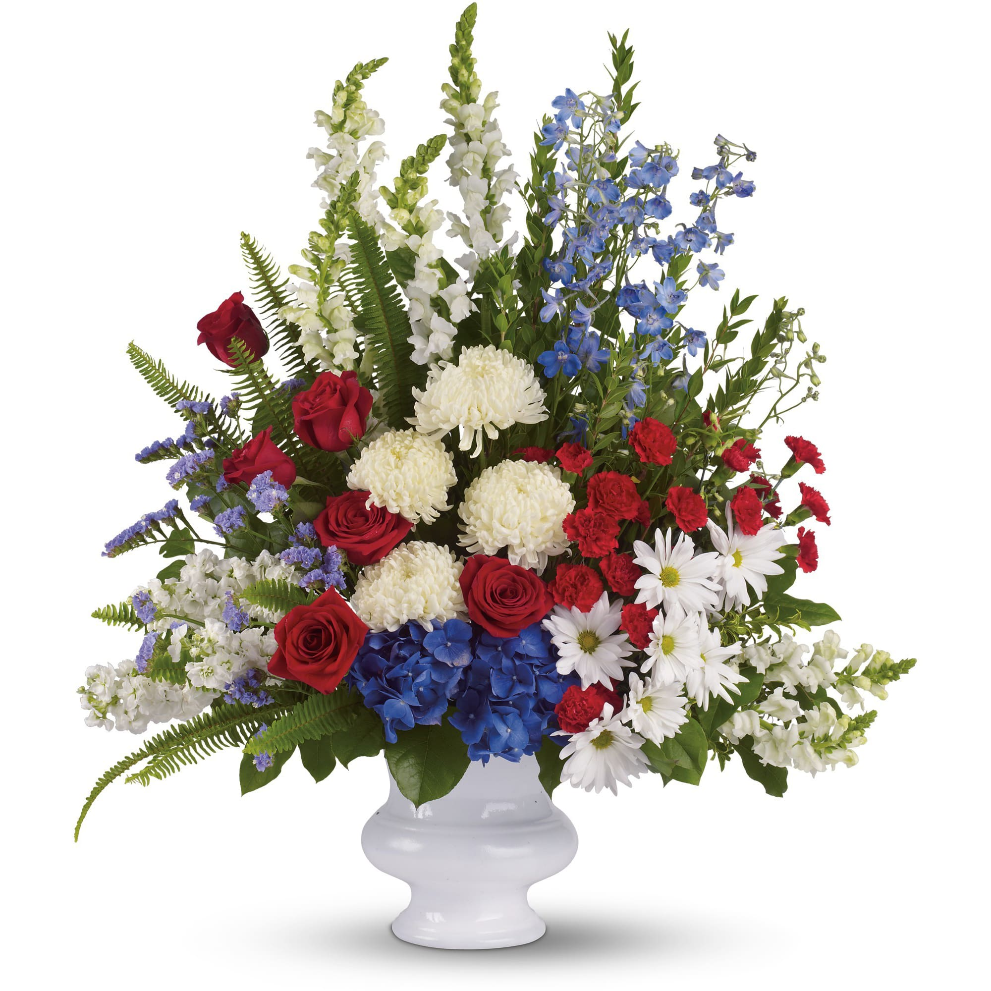 With Distinction by Teleflora - A dazzling display of patriotic red, white and blue flowers