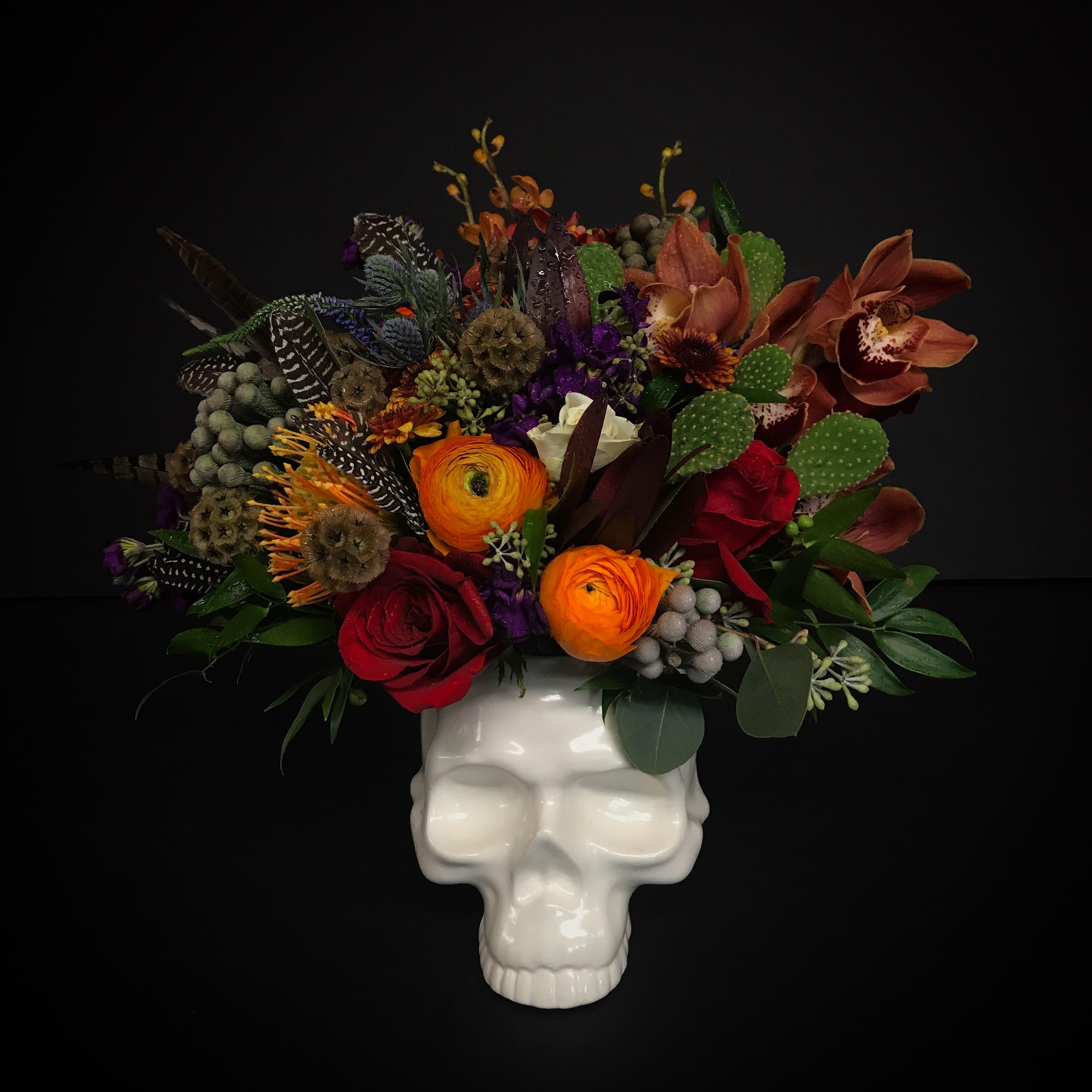 Custom Skull Floral Arrangement