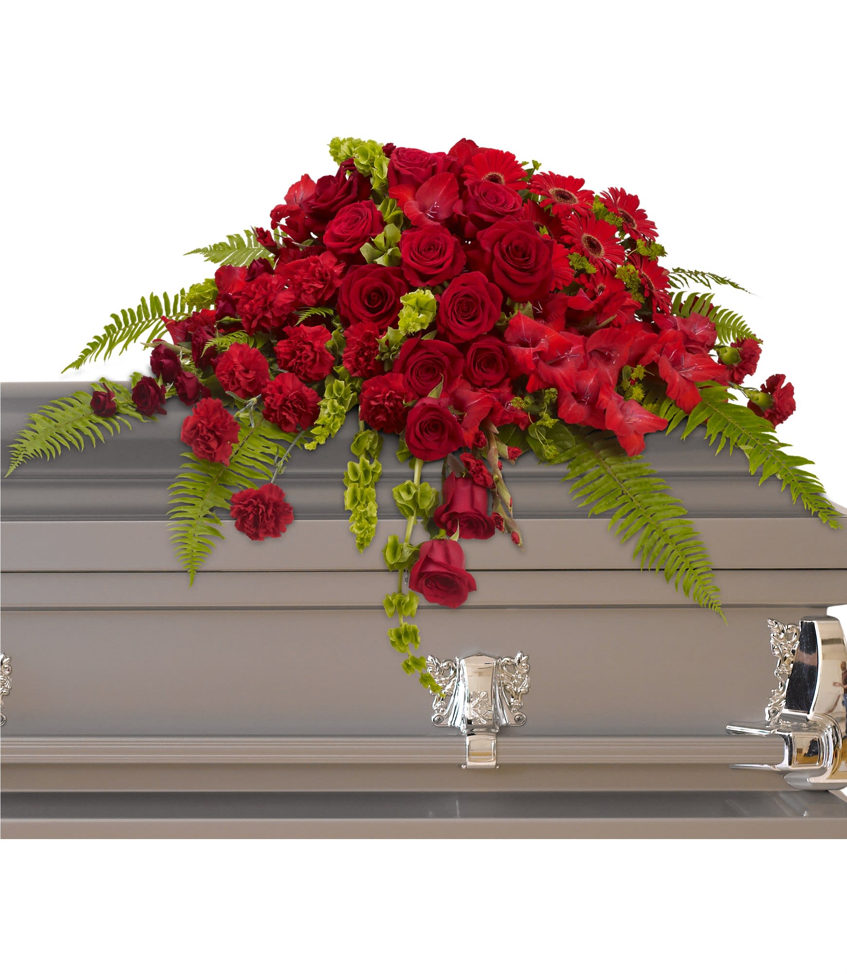Red Rose Sanctuary Casket Spray by Teleflora - A gorgeous mix of dazzling red flowers will