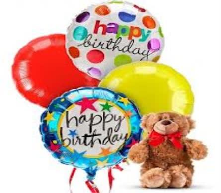 Happy Birthday Balloon Bouquet W Bear