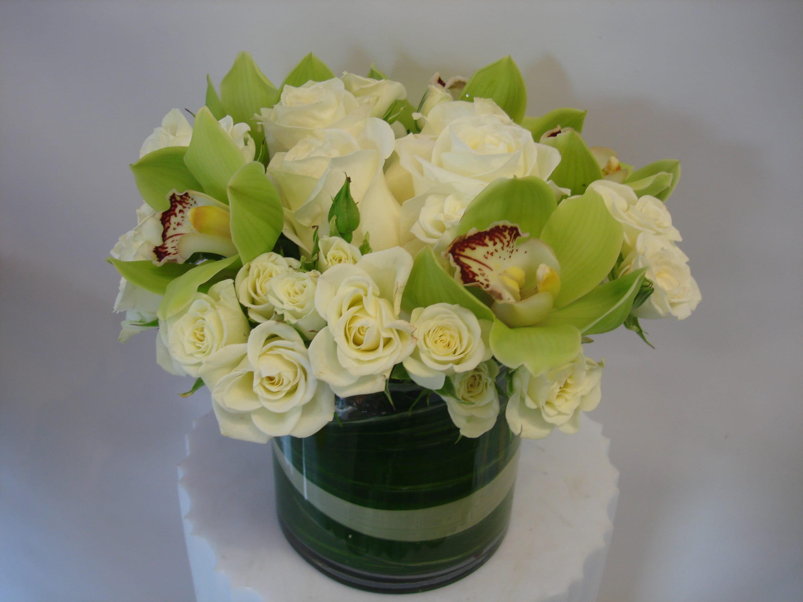 White Roses And Green Cymbidium Orchids W636 In San Francisco Ca