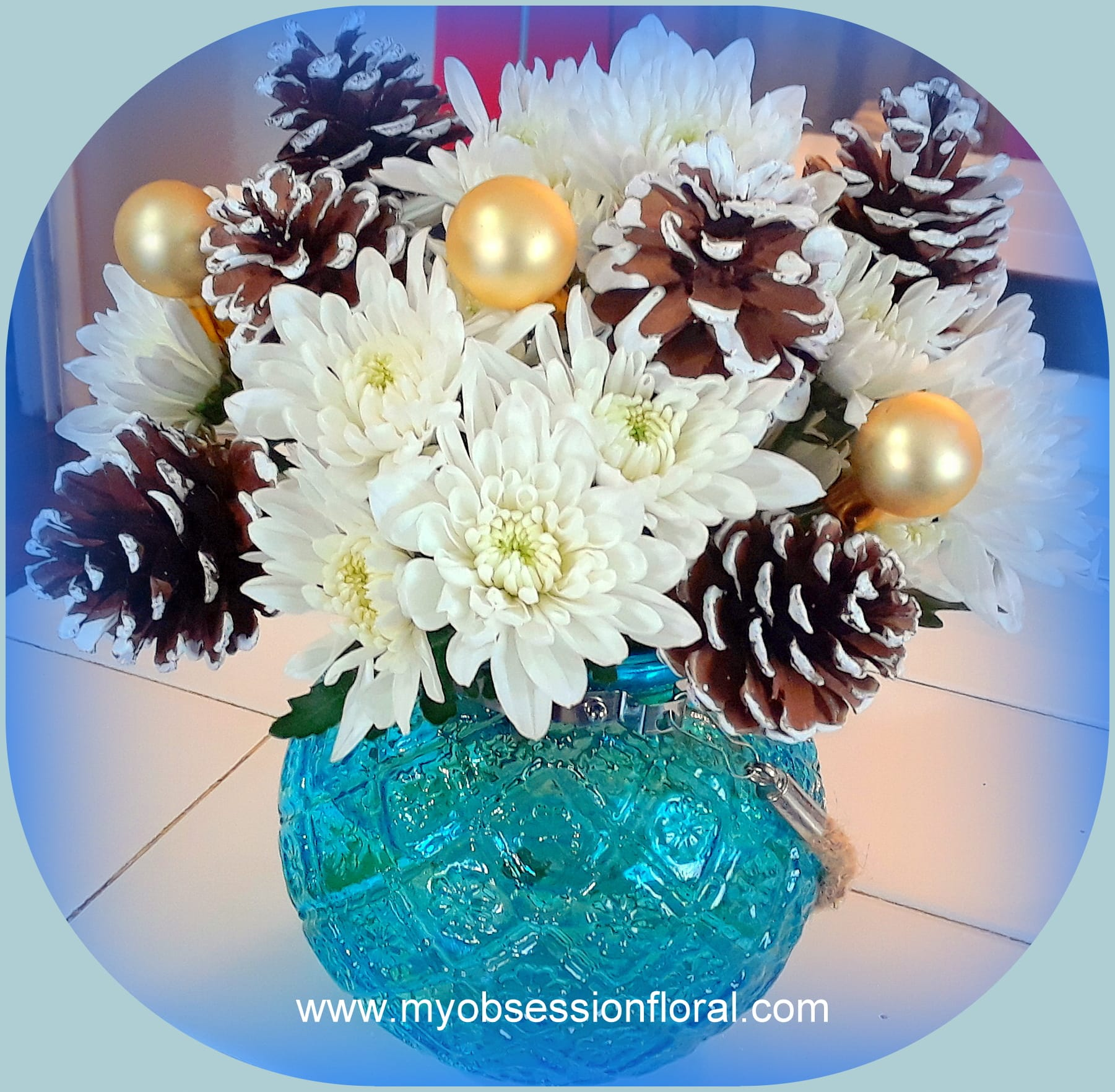 White And Blue Glass Bowl Arrangement In Dallas Tx My Obsession