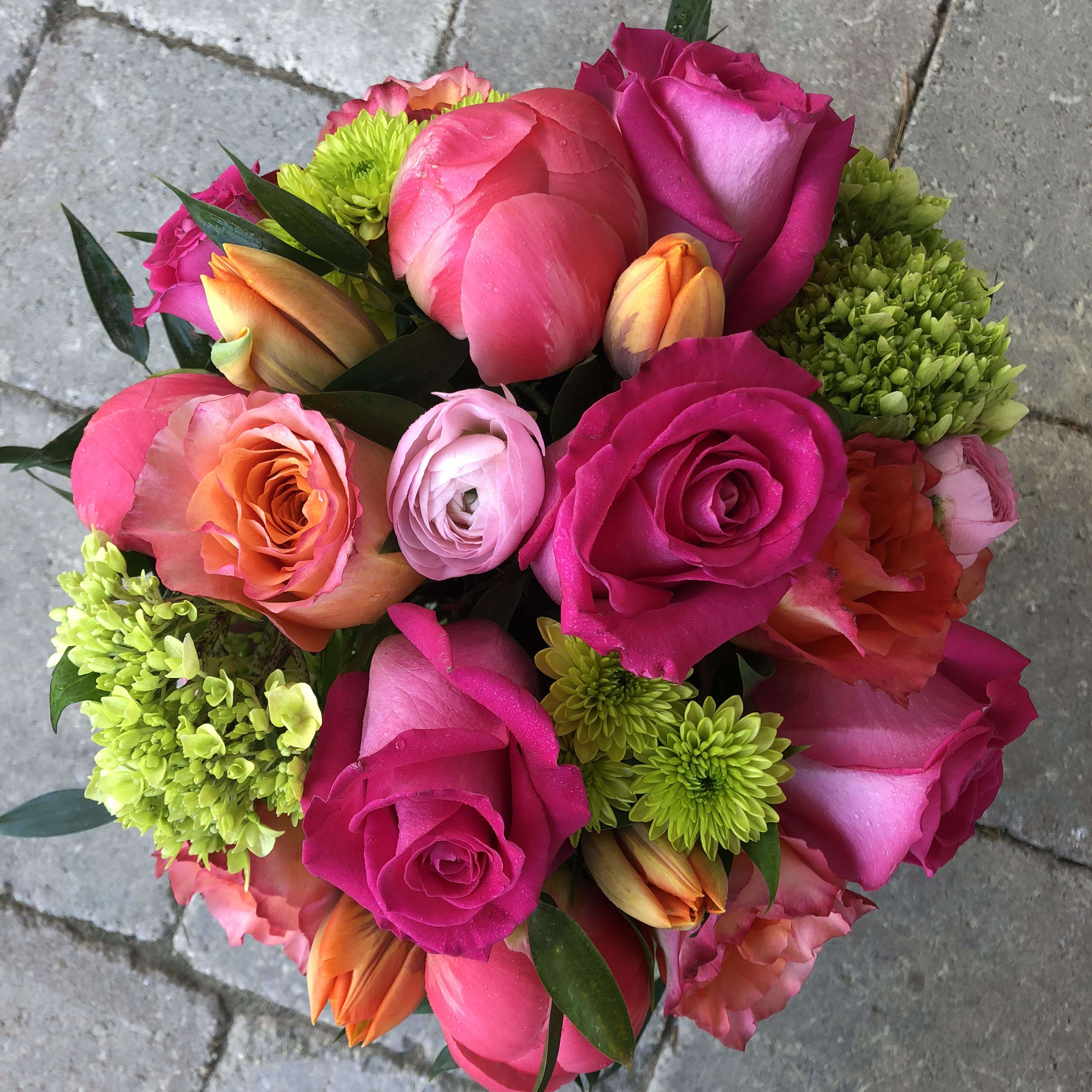HOT Pinks in Large Vase - Mix of Hot Pink Flowers in a Large Vase Since